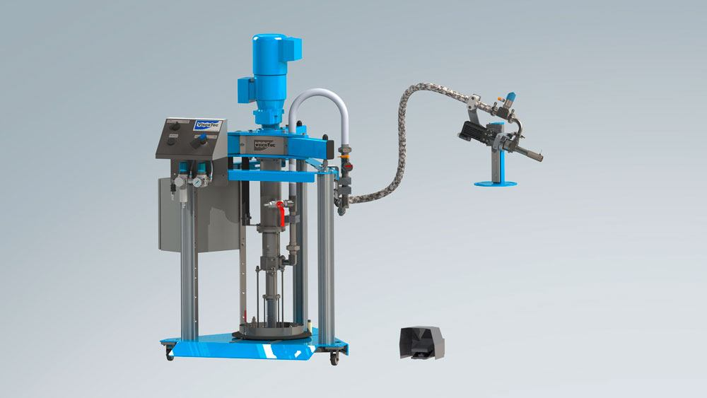 Complete dispensing system with fluid & paste emptying system and 1-component dispenser