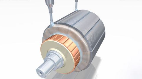 Production of electric motor: windings are impregnated